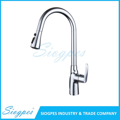 F7052C Pull Out Kitchen Faucet Brass with Chrome Plated