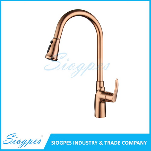 F7052M Pull Out Kitchen Mixer Tap Brass with Rose Gold